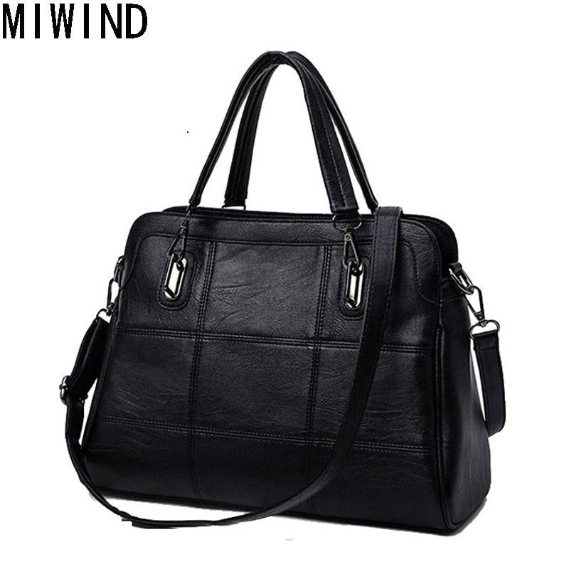 MIWIND Women's Genuine Leather Handbags Designer Sheepskin Tote Bag Bolsas femininas Female Shoulder Bag Crossbody Bag TKB1142