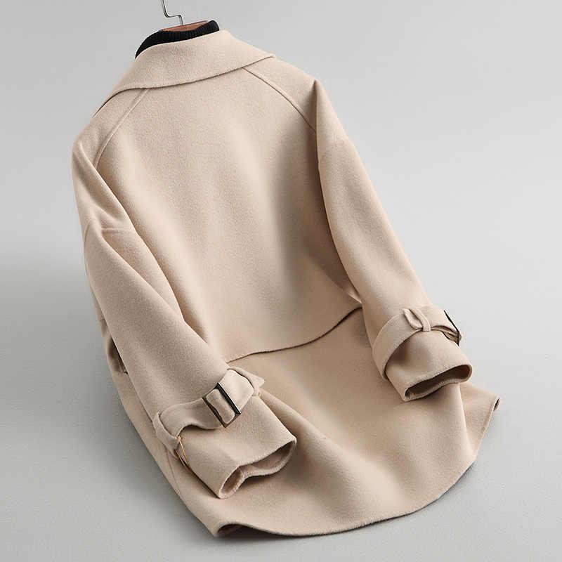 AYUNSUE 2019 Новое весенне-осеннее двухстороннее шерстяное пальто женское однотонное верхняя одежда средней длины зимние куртки верхняя одежда casaco KQN38053