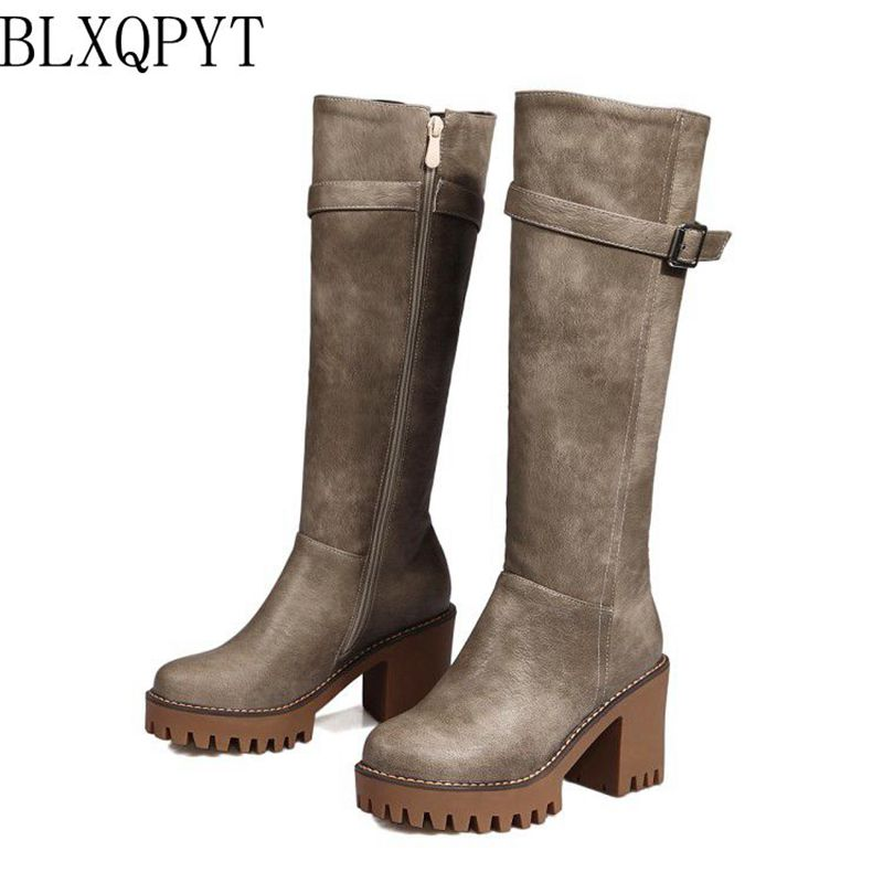 BLXQPYT Plus Sale Women Winter Shoes Knee High Boots Plus Big Size High Quality Shoes Woman Autumn Winter Boots X18-01 jeans woman autumn winter 2018 girl elegant denim rompers womens jumpsuit with hoodies plus size streetwear leotard high quality