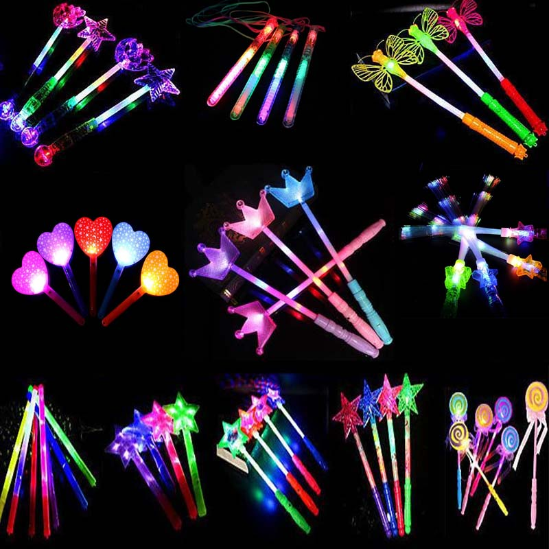 Glow Party Supplies Star Love Heart Led Flashing Sticks Girls Princess Glowing Fairy Wand Sticks Cheer Props Glow Party Purimtoy Event & Party