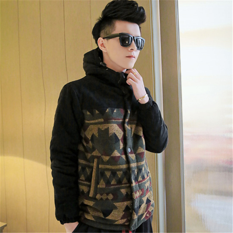 Hot Autumn And Winter 2017 Men's Personality Hit Color Stitching Thick Hooded Men's Fashion Printing Cotton Floral Jacket