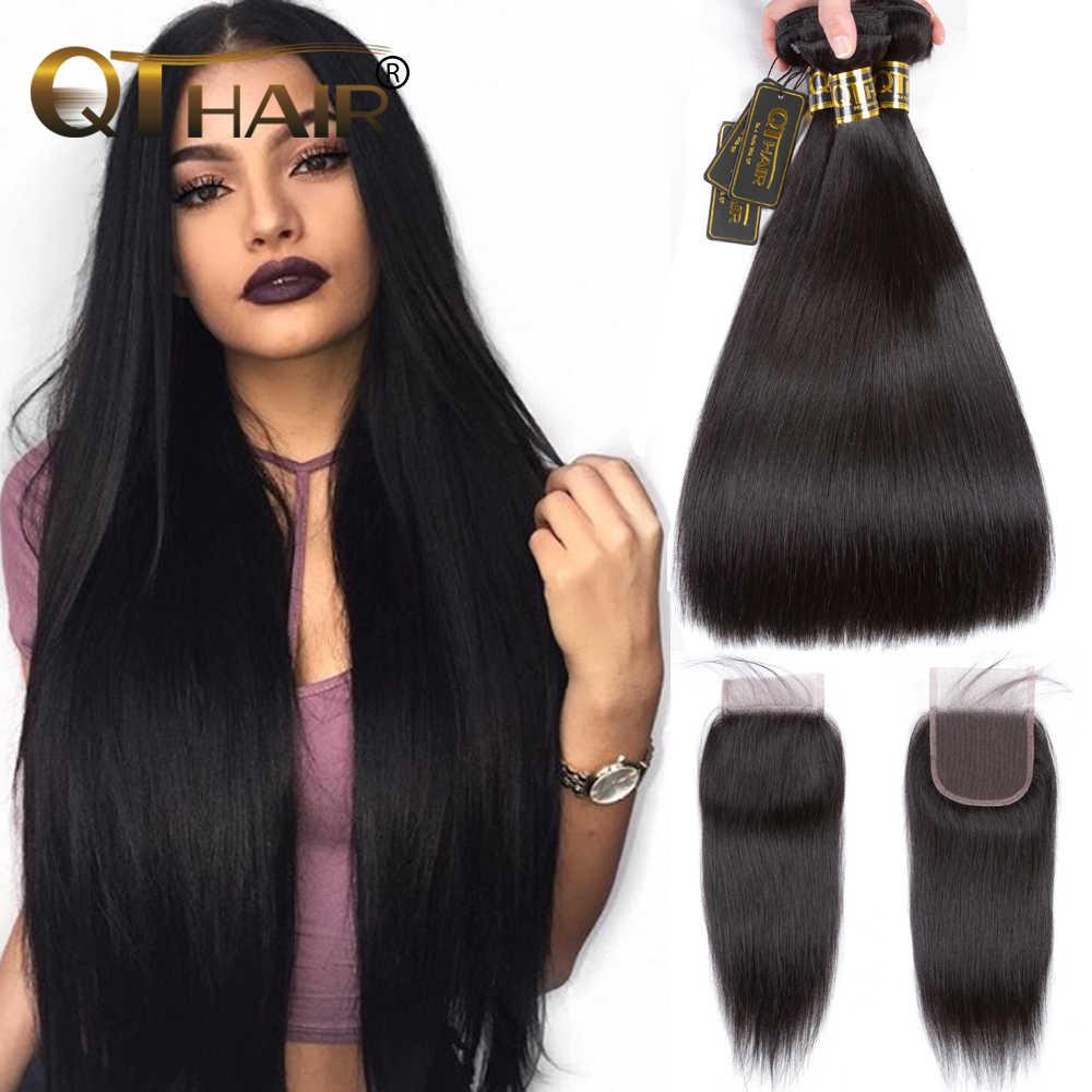 QT pelo recto Bundles con cierre cabello humano paquetes con cierre  brasileño Remy Hair Weave Bundles cc3fd1d114c0