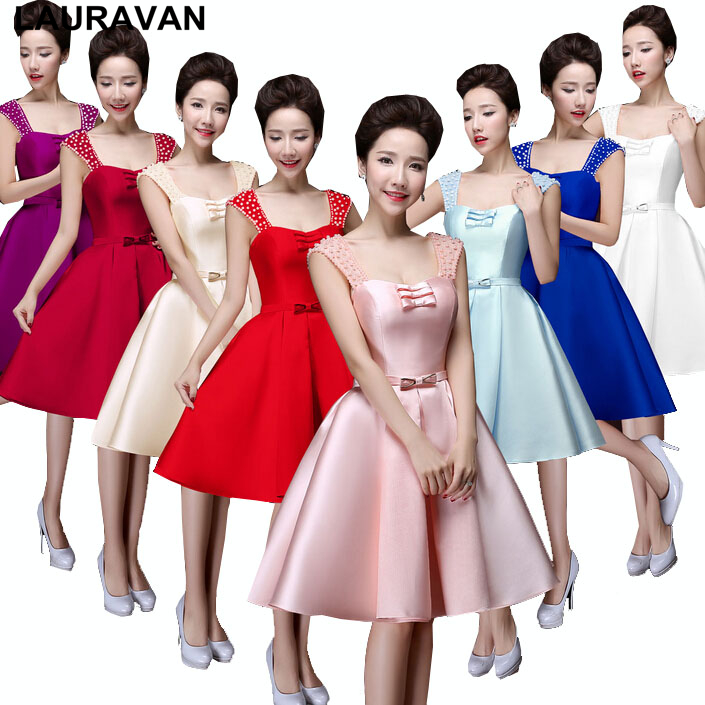 Modest Ivory And Red Bride And Bridesmaid Robes Royal Blue Party Dresses Purple Short Pink Size 10 12 Dress Free Shipping