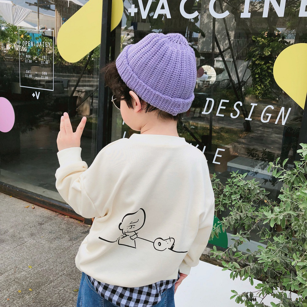 Spring Autumn 2019 New arrival cartoon plaid Spliced casual sweatshirts for kids baby boys cotton long sleeve hoodies(China)