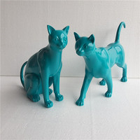 Modern Fashion Creative North Europe fairy tales Eco friendly Resin cat Home Decoration Training Room Ornaments lake blue cats