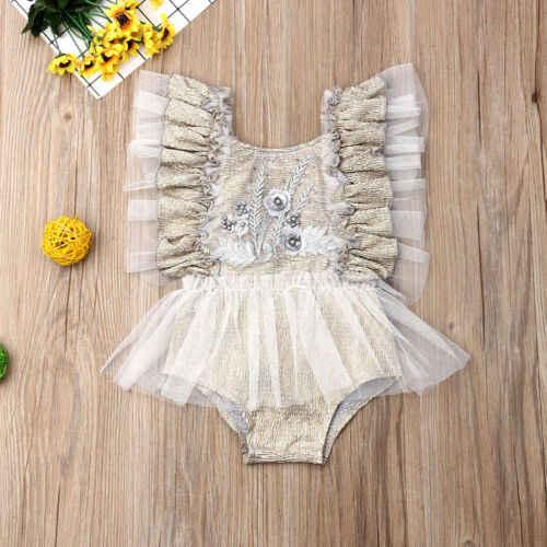 Mono de verano de encaje para niña recién nacida, mono de verano con estampado de flores, ropa para niñas