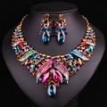 Nuevo Lujo Nupcial Oro Dubai Conjuntos de Joyas de Cristal Collar Pendiente de La Boda Para Las Novias Partido Accesorios de Regalo Para Las Mujeres