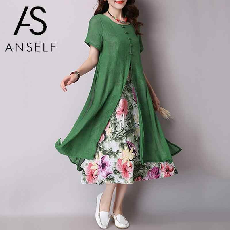 Plus Size 3XL 4XL 5XL Women Cotton Linen Dress Short Sleeves Floral Print  Boho Vintage Loose 3847301796a9