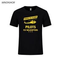Persone Volare Aerei Piloti di Volare Elicotteri T Shirt Da Uomo Estate Moda Manica Corta In Cotone Stampato T-Shirt Divertente Tops