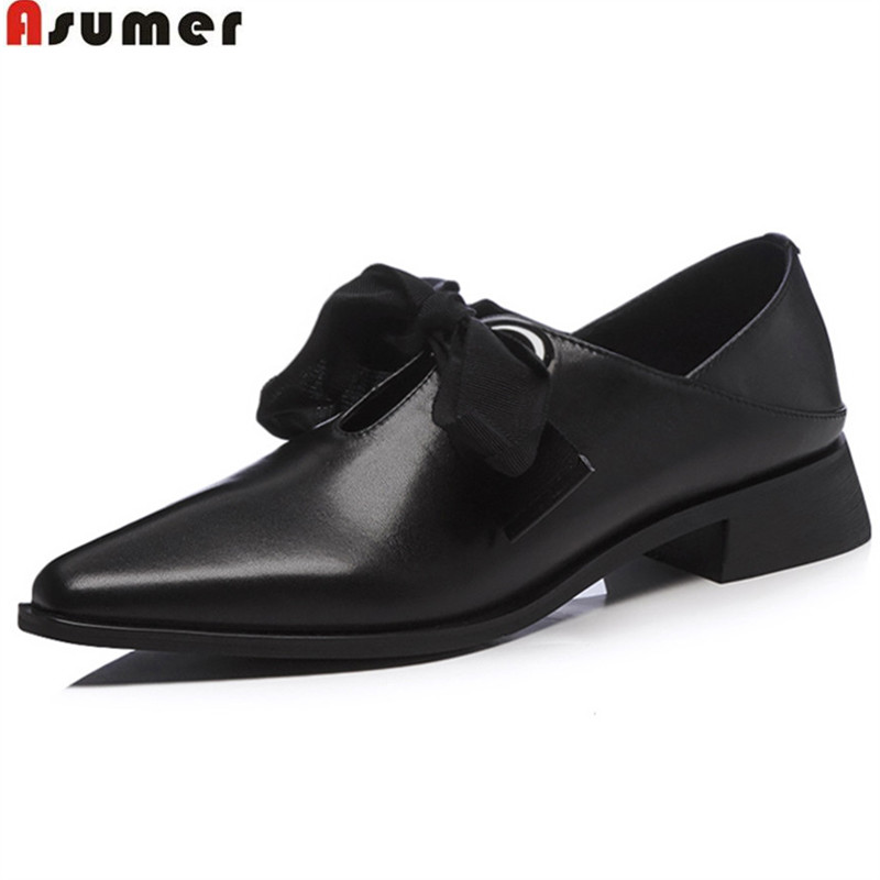 ASUMER black fashion spring autumn shoes woman square toe cross tied square heel classi women genuine leather low heels shoes asumer beige pink fashion spring autumn shoes woman square toe casual single shoes square heel women high heels shoes