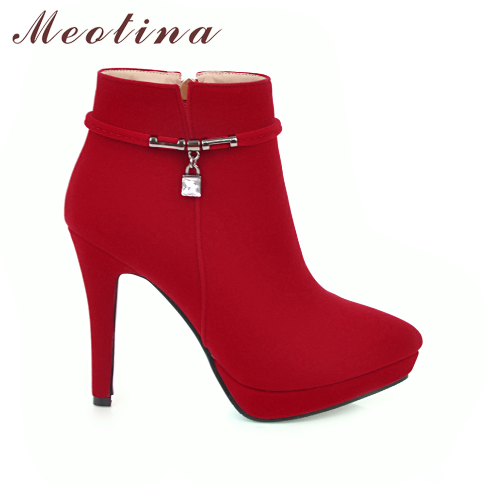 a87f92aa8e05 Meotina Women Winter Boots High Heel Ankle Boots Zip Platform Shoes Pointed  Toe Ladies Sexy Velvet Boots 2018 Red Black 34 43 -in Ankle Boots from Shoes  on ...