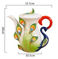 Creative Peacock Cup European Coffee Teapot Ceramic Teaset Kettle