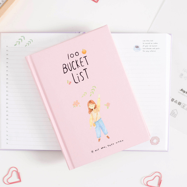 Cute Colorful Design Hardcover Diary Book Creative 100 Bucket List