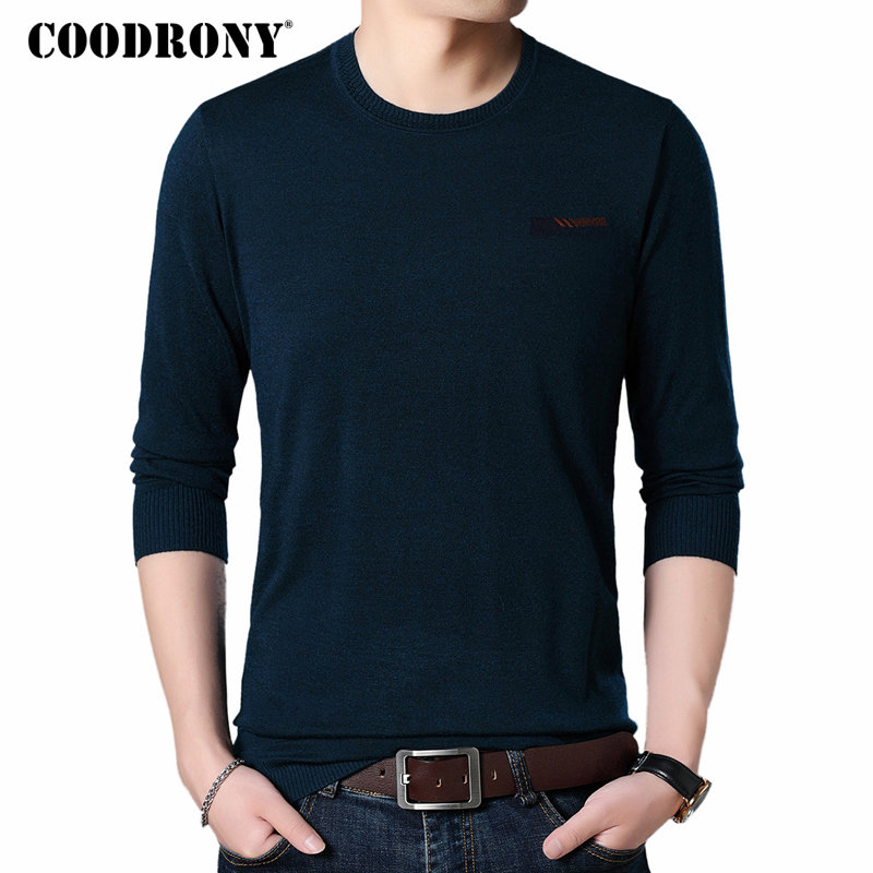 COODRONY Mens Sweaters Winter Jumper O-Neck Cashmere Autumn Casual Soft Wool 8223 Warm