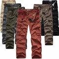 2016 otoño overol de algodón de alta calidad de color sólido verde del ejército pantalones stretch loose straight