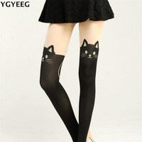 YGYEEG Keep Warm 2018 Autumn Winter Women Lovely Coton Tights Fashion Cute Cats Stockings Warm Tights
