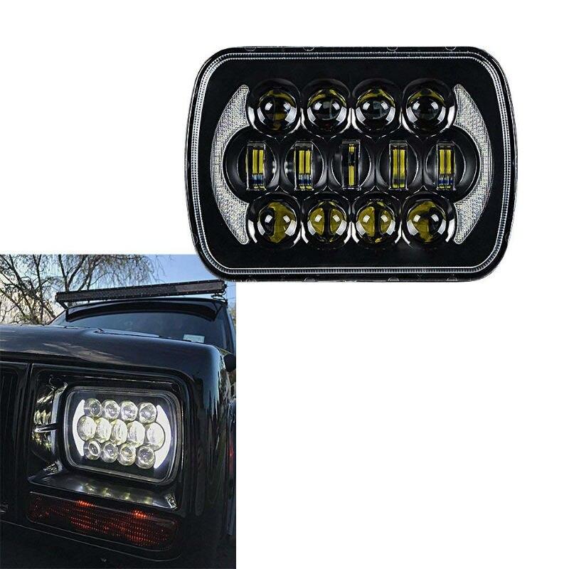 105W 5x7 inch 7 LED Square Headlight Hi Lo Beam DRL for 1986 1995 Jeep Wrangler