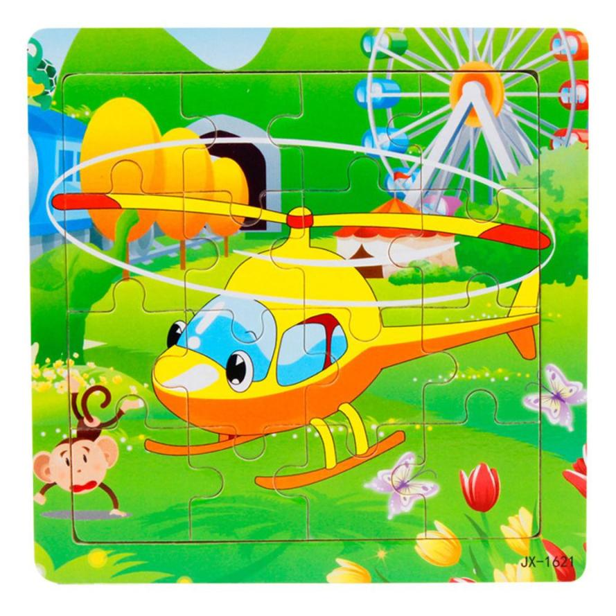 MUQGEW Puzzles For Children 14.7cmx14.7cm 16 Piece Cartoon helicopter Inspired intelligence Fidget toys Juguetes Z06