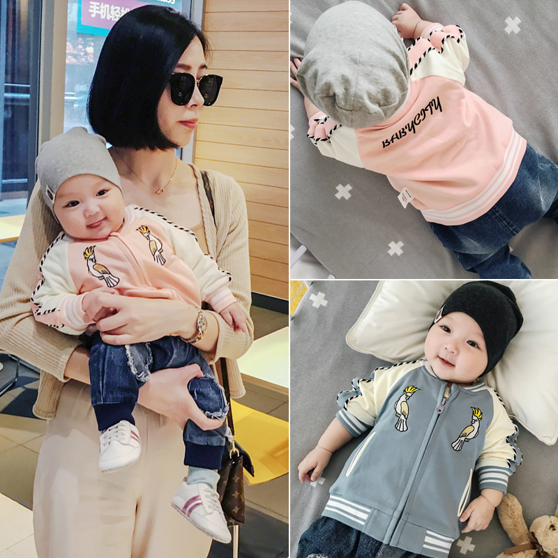 Fashion Punk Baby Jacket Coat Newborn Baby Boy Infant Girl Outfit Embroidered Parrot Sweatshirt Jumpers Jaqueta
