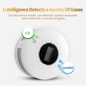Image 1 - 2 で 1 LED デジタルガス煙センサーアラーム Co 一酸化炭素検出器音声警告センサーホームセキュリティ保護高敏感