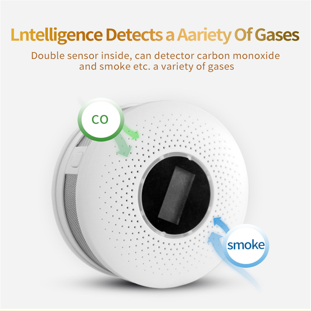 2 In 1 LED Digital Gas Smoke Sensor Alarm Co Carbon Monoxide Detector Voice Warn Sensor Home Security Protection High Sensitive