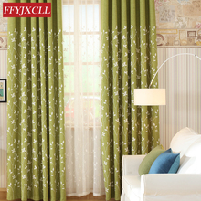 Modern Green Cotton Linen Blackout Curtains Kitchen Window Curtain For living Room Bedroom Embroidered Tulle Drapes floral curtain for living room print voile for window bedroom linen curtain blackout drapes kitchen treatment pastoral x513 30