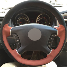 XuJi Black Brown Suede Hand-stitched Car Steering Wheel Cover for Mitsubishi Pajero 2007-2014 Galant 2008-2012