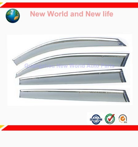 Free Shipping Car window sticker Window Visor Vent Shade Rain/Sun/Wind Guard Deflectors for VW SAGITAR Silver 4PCS