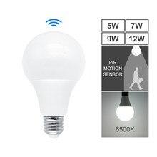 Ampoule LED avec capteur de mouvement PIR, E27, 220V, 5W, 7W, 9W, 12W, capteur Radar, lampe 6500K, pour la maison, les escaliers, les couloirs