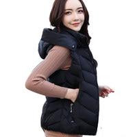 Plus Size Women Autumn Winter Vest Waistcoat Slim Hooded Women's Short Vest Jacket Sleeveless Down Cotton Waistcoat Female Q758