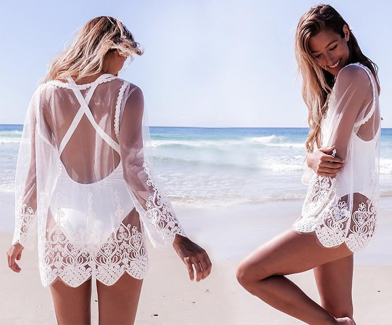 Crochet Tunica Beachwear Lace Kaftans For Beach Bikini Cover Up Beach Swimwear Dress Tunicas Para Playa Transparent Pareo