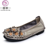 MUYANG MIE MIE Genuine Leather Women Shoes Woman Casual Flower Single Flat Shoes Soft Comfortable Women Flats