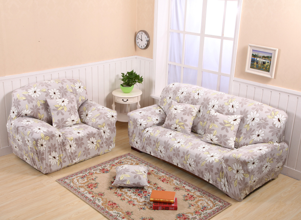 Floral Anti Slip Sofa Slipcovers Stretch Loveseat Armchair