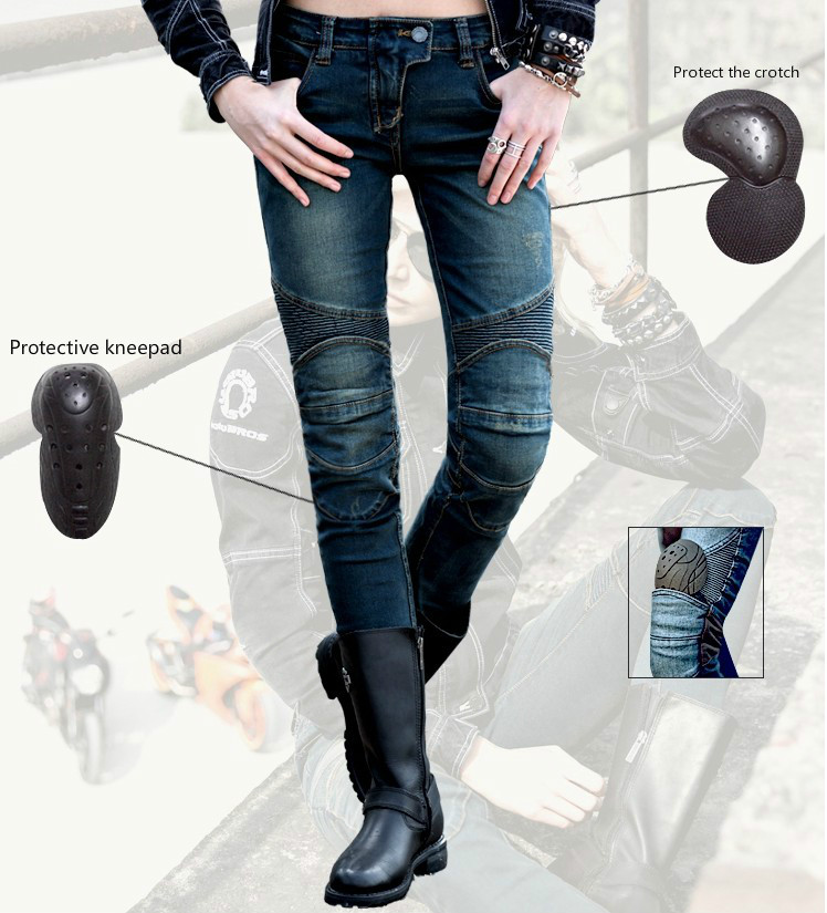 Free Shipping uglyBROS Featherbed UBS02 Motorcycle Women s Jeans Road Ride Jeans Racing Pants