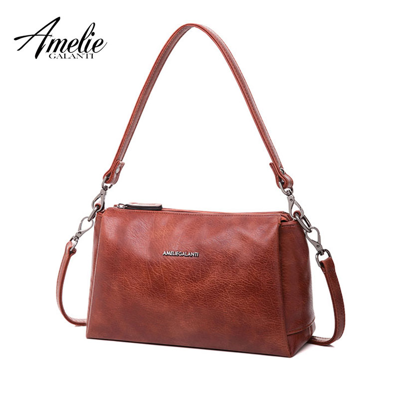 AMELIE GALANTI small 3 zipper crossbody bag for women practical stylish high quality PU Leather zipper multi pocket with strap zipper front pu backpack with convertible strap