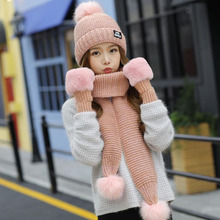 BING YUAN HAO XUAN Winter Hats for Women Three-Piece Girl Solid Color Wool Warm Gloves Scarves Female Pompom Scarf three yuan