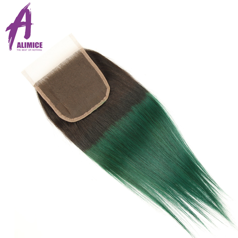 Alimice Ombre Bundles With Closure 3 Bundles With Closure 4PcsLot T1BGreen Dark Roots Brazilian Straight Human Hair Bundles (18)