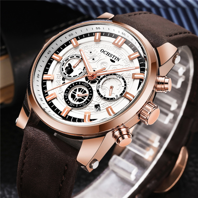 OCHSTIN Mens Watch CHronograph Date Men Watches Leather Band Top Brand Luxury Casual Military Army Sport Quartz Male Clocks 6111 ochstin date chronograph sport top brand luxury mens watches casual quartz wrist men watch military army business male clock 046