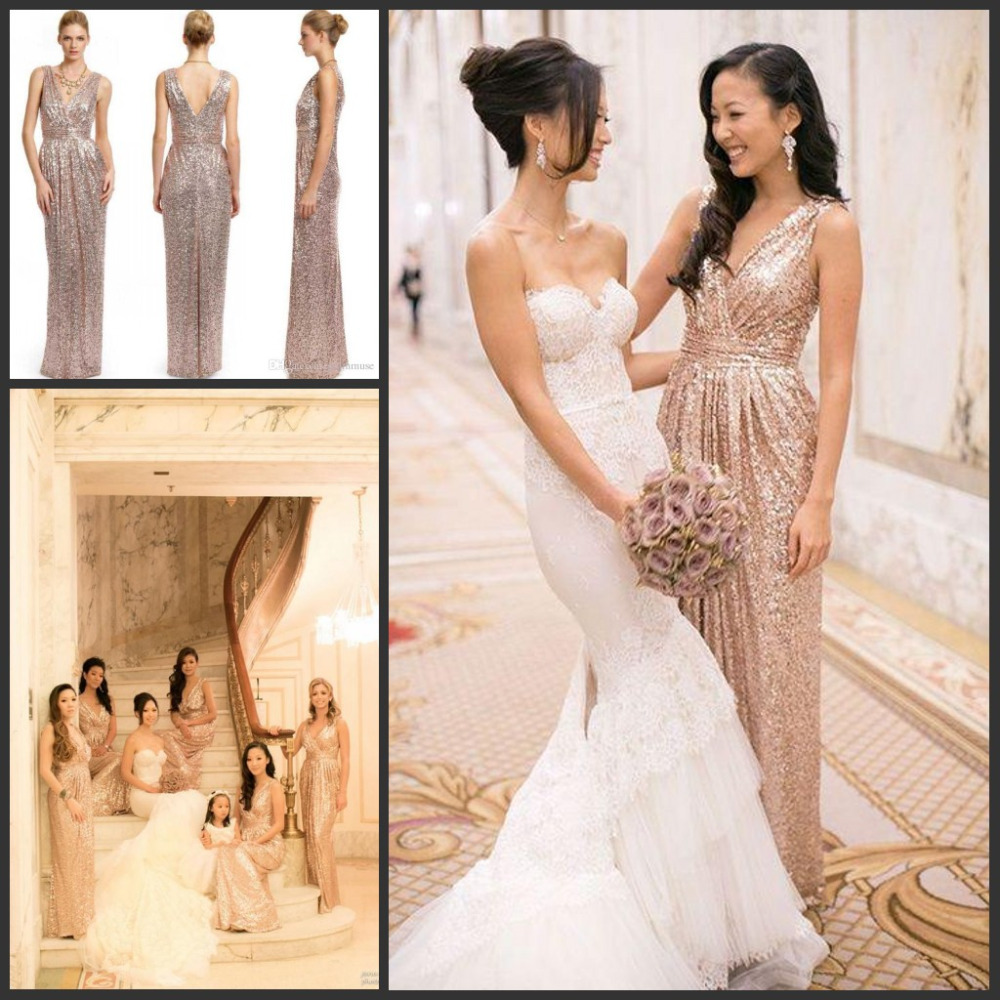 Online get cheap sparkling bridesmaid dresses aliexpress hot selling rose gold sequins bridesmaid dresses v neck long floor length bling bridesmaid gowns sparkling maid of honor dresses ombrellifo Images
