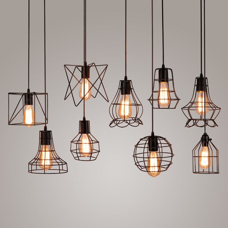 Modern Black Cage E27 Pendant Lights Iron Minimalist Retro Scandinavian Loft Pyramid Lamp Metal Hanging Diy Home Decoration In From