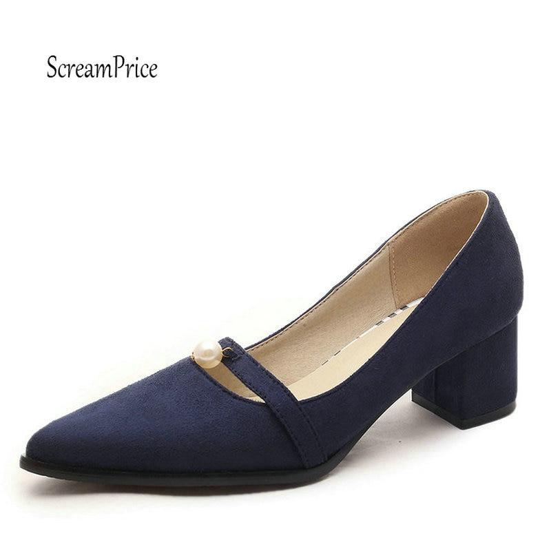 Ladies Faux Suede Mary Jane Low Heel Pumps Fashion Pointed Toe Crystal Woman Shoes Black Blue Gray Orange игрушка ecx ruckus gray blue ecx00013t1
