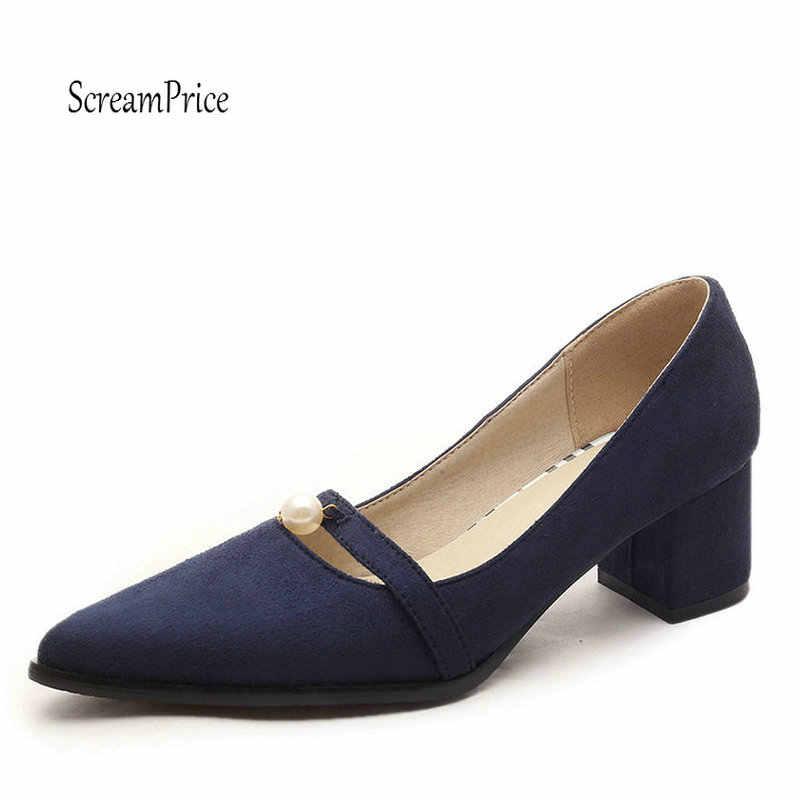 Mavi Turuncu Bayanlar Ayakkabı Orta Topuk Pompaları Kadın Ayakkabı Moda Sivri Burun Kadın Ayakkabı Siyah Gri Büyük Boy 2019
