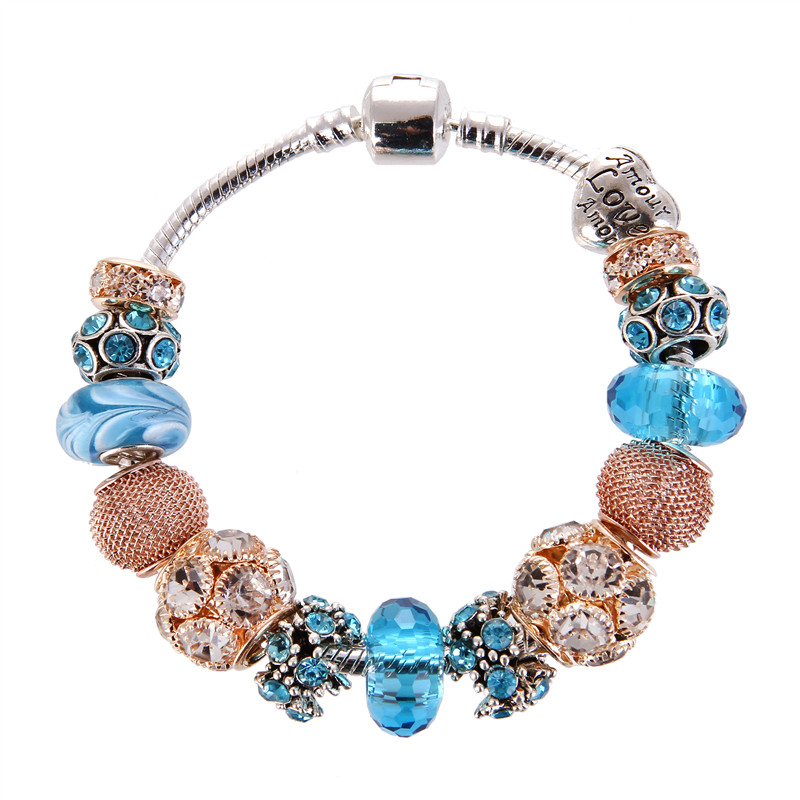 High Quality Blue crystal Rose Golden Charm Noble Pretty Bracelet Pandora Bracelet For Women/Gril gift jewelry Drop Shipping