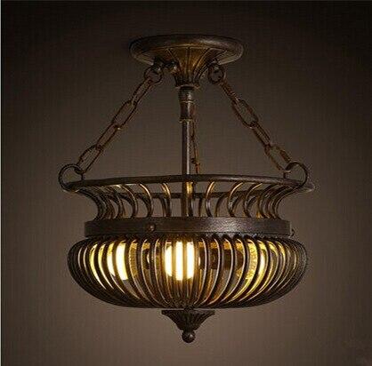 цена Vintage creative Iron art cage American luxurious pendant light for Hotel Club Home living room,E27*3 bulb included онлайн в 2017 году
