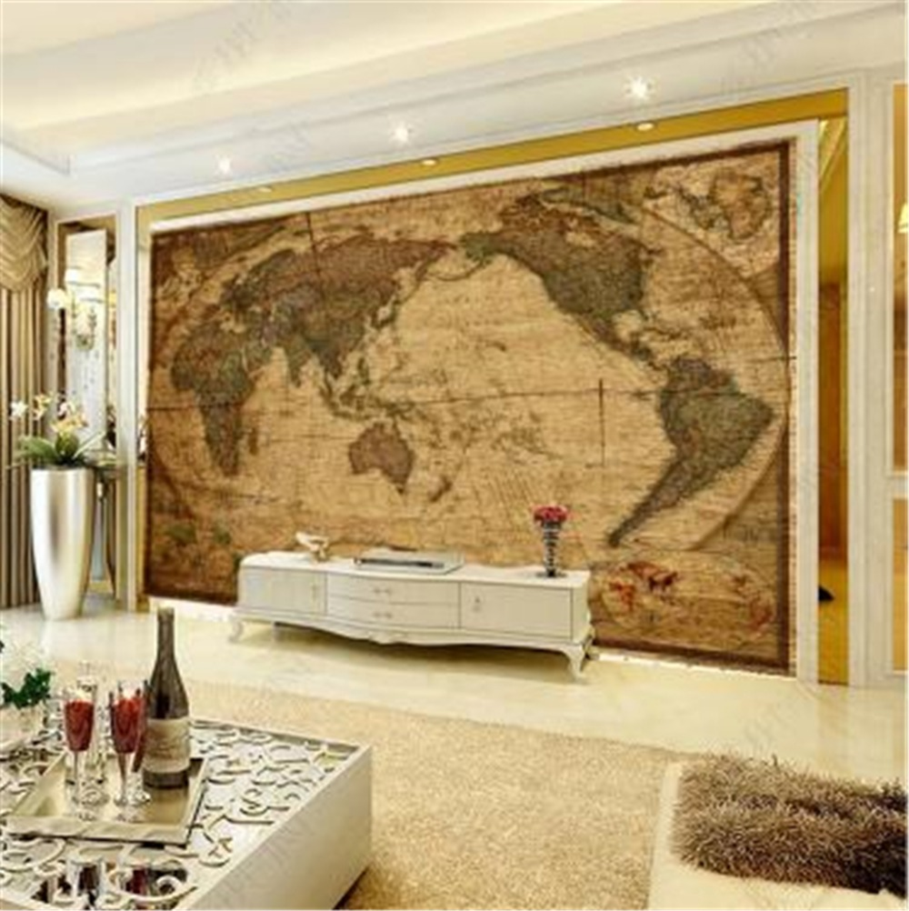 Wallpaper Retro Wood Grain HD World Map Wallpaper 3d On The Wall Home Decor Living Room Wall Covering