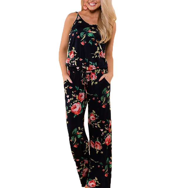 a82cf7cf38f Summer Jumpsuit Women 2018 Fashion Sleeveless Strap Sexy Overalls Rompers  Female Boho Style Floral Print Jumpsuits Plus Size