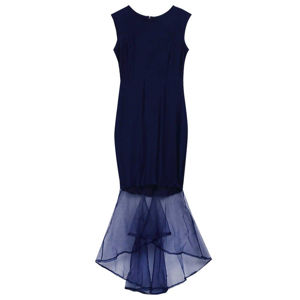 ba1dd84caec ... Women Formal Bodycon Dress Party Lace Mermaid Midi Dress Size Costume  Solid Navy Blue ...