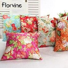 2018 Floral Cushion Cover Linen Flowers Decorative Pillow Case 45*45 Cushion Chinese Style Print Pillow Case Sofa Home Car Chair floral bird print decorative pillow case