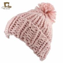 Новый Крючком вязать Громоздкая Pom Pom Ручной Шапочка Зимние Теплые Hat