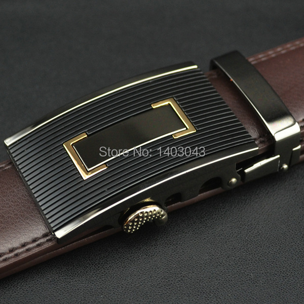 WOWTIGER Free shipping Automatic buckle belts Luxury automatically cowhide men belt brown black belts for men 3